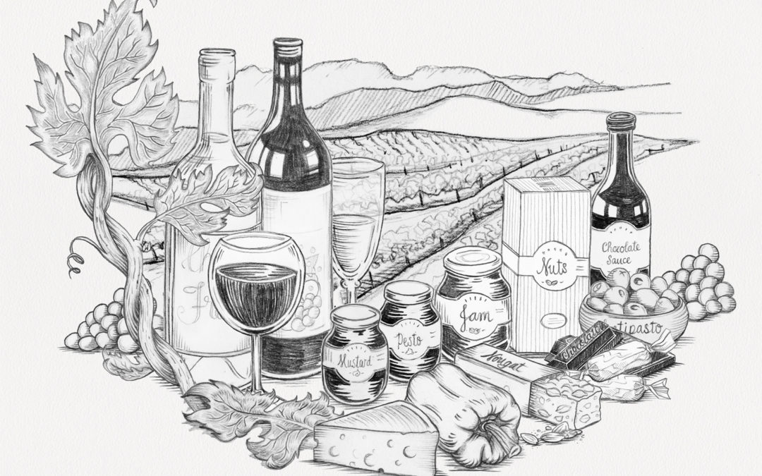 Gourmet Gift Hamper Illustration